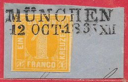 Bavière N°9 1k Jaune (Balkenstempel MÜNICHEN 12 OCT 1865) 1861-62 O - Bavière