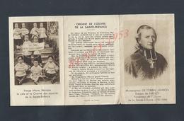 CALENDRIER 1943 TYPE DEPLIANT L OEUVRE DE LA SAINTE ENFANCE  MON SEIGNEUR DE FORBIN JANSON NANCY PARIS RUE DU CHERCHE : - Kalender