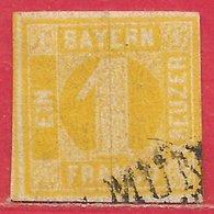Bavière N°9 1k Jaune 1861-62 O - Bavière