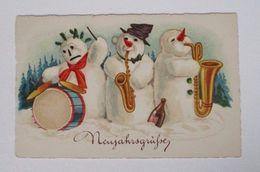 """""""Neujahr, Schneemann, Trommel, Saxophone, Sekt"""" 1930 ♥  - New Year"""