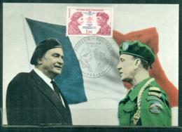 CM-Carte Maximum Card # France-1973 #Guerre,Krieg,war #(Yv.N° 1773) Paras SAS,commandos FFL,Philippe Kieffer P.Bourgoin - 1970-79