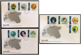 """Estonia. """"Act Now"""", Joint-issue, Set Of 10 Stamps On 3 FDC's - Joint Issues"""