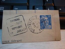 Morceau D'enveloppe Timbre : Type Gandon. 15 F Tellier = 886. + Flamme DIVONNE-les-BAINS 1954 - France