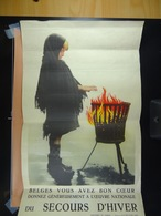 Affiche Originale Belges Vous Avez Bon Coeur Donnez Généreusement à L'Oeuvre Du Secours D'Hiver (28,5 Cm X 45 Cm) - Affiches