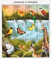 MDB-BK9-091-2 MDA MDV MINT ¤ CONGO 2000 6w In Sheet ¤ BUTTERFLIES - BIRDS OF THE WORLD -  OISEAUX - VOGELS - VÖGEL - Songbirds & Tree Dwellers