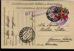 RC616 FRANCHIGIA POSTA MILITARE INTENDENZA ZONA GORIZIA , TIMBRO LINEARE REP.to OSPEDALE SEMINARIO X ROSSANO CALABRO - 1900-44 Vittorio Emanuele III