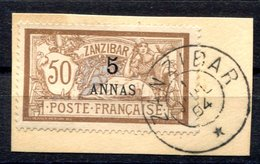 RC 17066 ZANZIBAR COTE 27€ N° 54 MERSON SURCHARGÉ SUR FRAGMENT OBLITÉRÉ TB VF USED - Zanzibar (1894-1904)