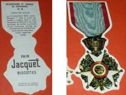Rare Image Chromos Découpis Pain/Biscottes JACQUET, Militaria, Médaille Décoration Militaire Croix De Juillet - After 1965