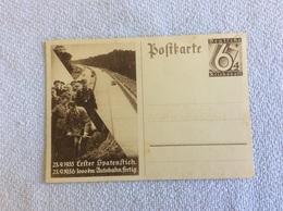 Postkarte Erster Spatenstich Autobahnbau 23.9. 1933 Deutsche Reichspost - 1939-45