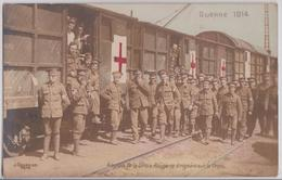 Guerre 1914 Anglais De La Croix-Rouge Se Dirigeant Sur Le Front Wagon Transport Ferroviaire Militaire British Army WW1 - Guerre 1914-18