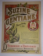 Étiquette SUZINE GENTIANE Borderie & Brégeaud Distillateurs à Brioude - Contrefaçon SUZE - Alimentaire