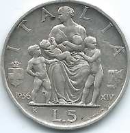 Italy - 1936 R - Vittorio Emanuele III - 5 Lire - KM79 - FERT Edge Lettering - 1861-1946 : Regno