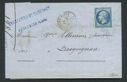 Lettre France PC909 Colmars-les-Alpes 1853-60 Napoléon III Non Dentelé 20c Bleu Type II No14b. Expertisé Raymond Goebbel - 1849-1876: Période Classique