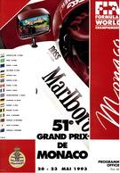 Programme Du Grand Prix De Monaco F1 1993 Très Bon état - Car Racing - F1