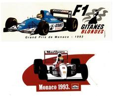 2 Stickers Gitanes Blondes Et Malboro Grand Prix De Monaco F1 1993 état Parfait - Car Racing - F1