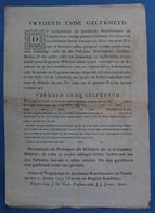 ZELDZAAM DOKUMENT 1793 VLAENDEREN 11 JANUART BELGISCHE REPUBLIQUE - AFFICHE - VRIJHEYD ENDE GELYKHEID  ZIE SCANS - Dokumente