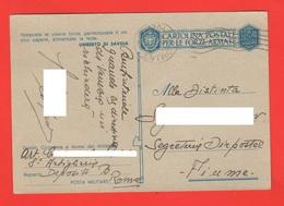 Artiglieria Franchigia Deposito Roma Posta Militare Regio Esercito X Fiume 26-9-1942 - Militärpost (MP)