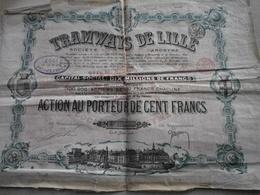 Ancienne Action Année 1930 TRAMWAYS DE LILLE - Railway & Tramway