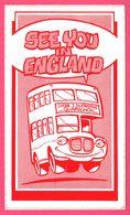 Autocollant - Quaregnon - Lycée J. DUFRASNE - Autocar - Autobus - See You In England - Bus à étage - 17 X 10 Cm - Autocollants