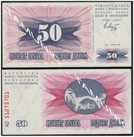 BOSNIA AND HERZEGOVINA 50 Dinara 1992 UNC  - SECOND ISSUE - Bosnia Erzegovina