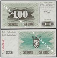 BOSNIA AND HERZEGOVINA 100 Dinara 1992 UNC  - SECOND ISSUE - Bosnia Erzegovina