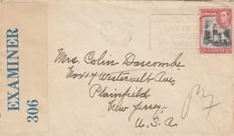 LETTRE. BERMUDES. WWII. 1941. BANDE CENSURE. HAMILTON POUR PLAINFIELD NEW-JERSEY. USA - Bermuda