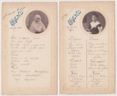 Deux 2 Menus Menu 1932 -1933 Communion Enfant Garçon Fille  BOULVE Chalon Sur Marne Fiévet Photo - Menus