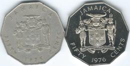 Jamaica - Elizabeth II - 50 Cents - Marcus Garvey - 1975 (KM65) & 1976 (KM70) - Jamaica