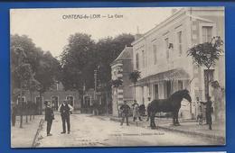 CHATEAU-du-LOIR    La Gare   Animées   écrite En 1914 - Chateau Du Loir