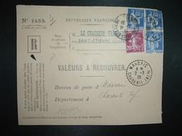 DEVANT LR VALEURS A RECOUVRER TP PAIX 65c X3  SEMEUSE 20c OBL.28-2 38 T ETIENNE MANUFACTURE LOIRE(42) Tiretée MARSAIS 17 - 1921-1960: Modern Tijdperk