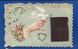 Carte Dentellée   Découpi Main Et Colombe  Et Almanache 1912  Amitié Sincère - Other
