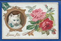 Carte Gauffrée  Chat Et Roses  Bonne Fête - Feiern & Feste