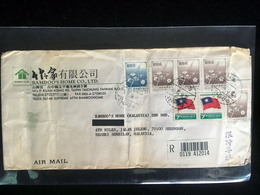 Taiwan Republic Of China 1970s Business Cover To Malaysia Flowers Flag - 1945-... République De Chine