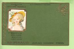 PARFUM De Madame ROYALE - Poudre , Savon , Lotion  - Ed. PINAUD PARIS  -  Dos Simple , Gaufrée - TBE - 2 Scans - Advertising