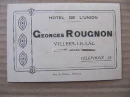 Non CPA - FICHE D'HOTEL - VILLERS LE LAC - GEORGES ROUGNON - HOTEL DE L'UNION - France