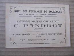 Non CPA - FICHE D'HOTEL - GEVREY CHAMBERTIN - HOTEL DES VENDANGES DE BOURGOGNE - C. PANDROT - Gevrey Chambertin