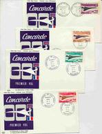 4 Enveloppes 1er Jour - Le Concorde Polynésie, Nlle Calédonie, Comores Et Wallis Et Futuna - Avions
