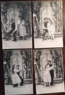 """4 Cpa, Série """" L'Amour """", (Artiste Peintre Et Son Modèle Au Bord D'un Puits) , Couple, Dos Divisé, Non écrite - Parejas"""