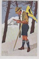 Pfadfinder Beim Kartenlesen - Künstlerkarte Signiert Emil Huber    (A-204-200216) - Pfadfinder-Bewegung