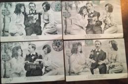 """4 Cpa, """" Le Roman Interrmpu"""" N° 1,2,3 Et 4, Galant Faisant La Lecture à Deux élégantes, Amours, Amants, Humour, 1905, - Autres"""