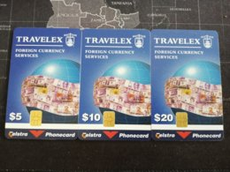 AUSTRALIA  3x CHIP TELSTRA TRAVELEX $5,$10,$20,.MINT  TIRAGE ONLY 2000  (RR)   Money ON CARD ** 1532** - Australië