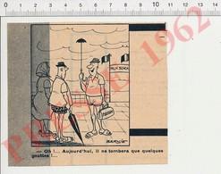 Humour Presse 1963 Parisien En Vacances à Cannes Au Palm Beach Mini-parapluie Pluie Malette Panam 229Z - Vieux Papiers