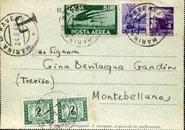 53699 Italia, Biglietto Postale Da 4 Lire + Aggiunta, Da Marina Ravenna 24.8.1948 Con 2x  2 Lire Segnatasse - 6. 1946-.. Repubblica