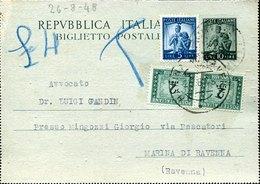 53700 Italia, Biglietto Postale Da 10 Lire + Aggiunta, Da Marina Ravenna 26.8.1948 Con 2x  2 Lire Segnatasse - 6. 1946-.. Repubblica