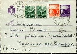 53701 Italia, Biglietto Postale Da 4 Lire + Aggiunta, Da Cortina A Bassano  9.9.1947 - 1946-60: Storia Postale