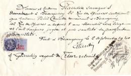 Lettre Manuscrite Pour Bon Travail  Beaugency Plaudrin Loiret Berthe Camille Petit 1940 Timbre Fiscal 1,5 Fr - Documents Historiques
