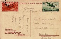 (St.Post.)*.Regno.V.E.III.1936.Espresso Aereo In Tariffa Per L'Argentina Del 9-12-1936 (31-20) - 1900-44 Victor Emmanuel III