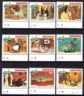 REDONDA - 1982 DISNEY 101 DALMATIONS YEAR OF THE DOG CHRISTMAS SET (9V) FINE MNH ** SG Appendix - Antigua And Barbuda (1981-...)