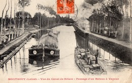 CPA  Batellerie -  45 - MONTBOUY - Vue Du Canal De Briare - Passage D 'un Bateau à Vapeur - Péniche (peu Courante) - Autres Communes