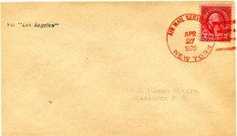 """ETATS-UNIS LETTRE DEPART AIR MAIL SERVICE APR 27 1925 NEW YORK VIA """" LOS ANGELES """" POUR PORTO RICO - 1c. 1918-1940 Covers"""